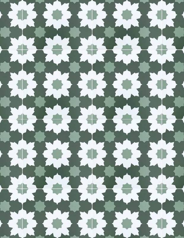 Andalusische Fliesen weiß grün