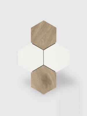 Carrelage hexagonal blanc mat effet bois - NO20010033