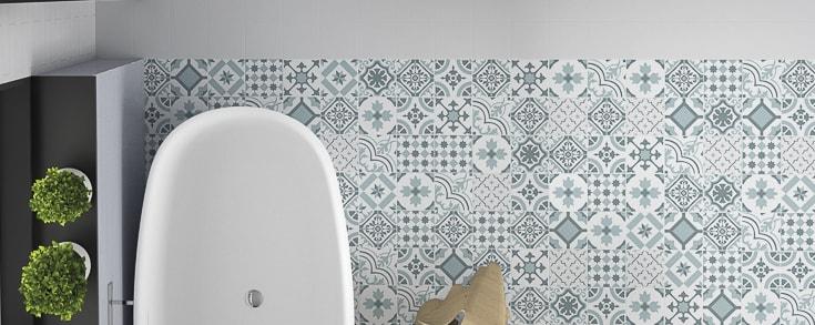 La série Concrete, un carrelage 15x15 cm en grès cérame imitation carreau ciment pour sol et mur.