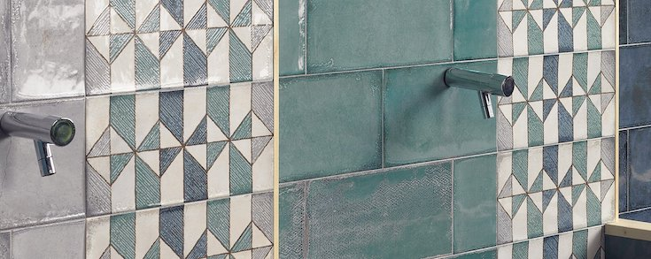 Série Gondola, une faïence murale de type rétro et rustique aux teintes douces.